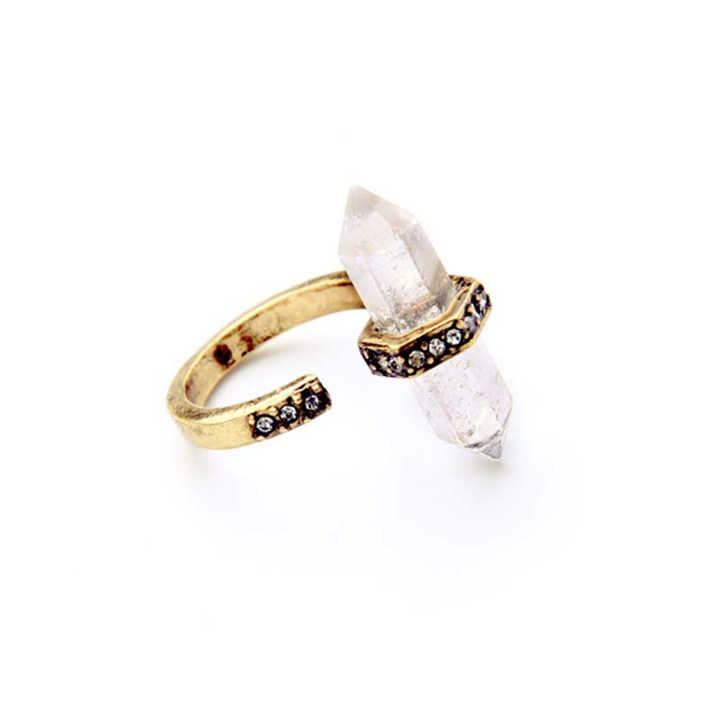 Simple Style Modern Women Clearly Irregular Natural Stone Women Finger Rings
