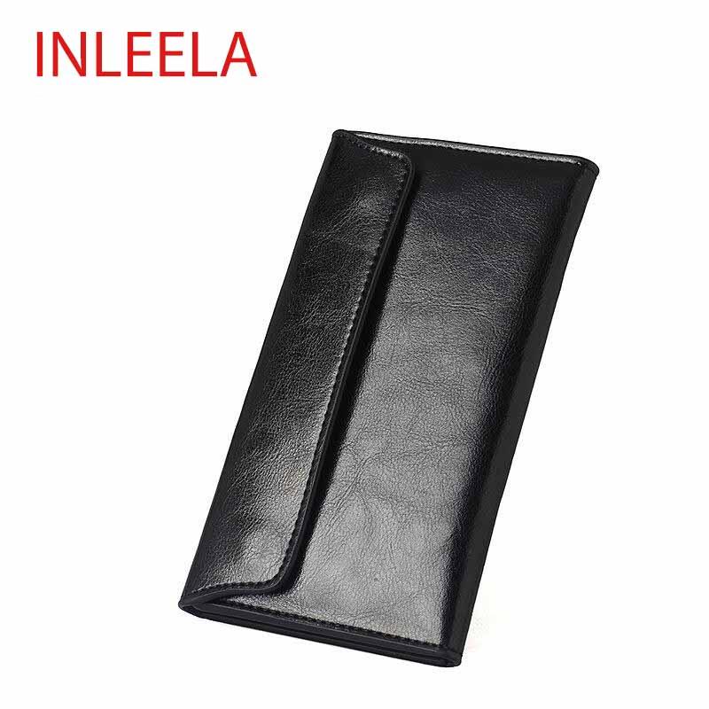 INLEELA Korean Style New WOmen Long Wallet Soft Leather Wallet Minimalist Fashion Slim Clamshell Leather Envelope Bag(China (Mainland))