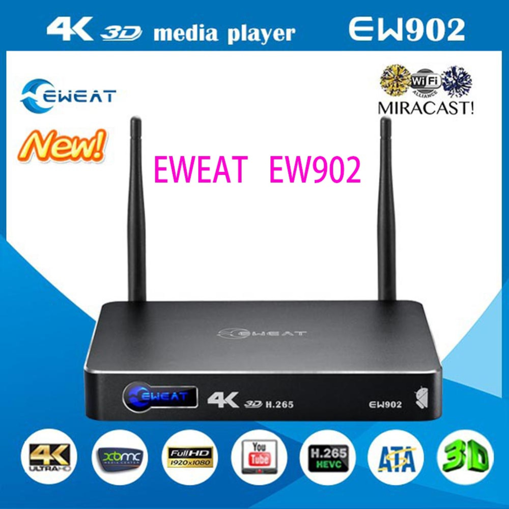 Android TV Box Eweat EW902 1GB / 8GB 3D 4K Network HDD Media Player HDMI in & Out USB3.0 DTS-HD Kodi Ethernet H.265 3D BDMV/ ISO(China (Mainland))