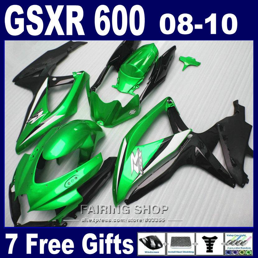 Injection mold lower price fairings for suzuki gsxr 600 750 08 09 10 green gold black fairing kit gsxr600 2008-2010 SA20(China (Mainland))