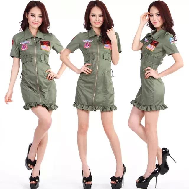 Ladies Aviator Girl Fancy Dress Costume Pilot Outfit Womens(China (Mainland))