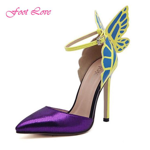 Большой размер 35 - 41 тонкие высокие каблуки женщины туфли на высоком каблуке 11.5 см бабочка каблуки свадебные туфли ну вечеринку желтый фиолетовый черный