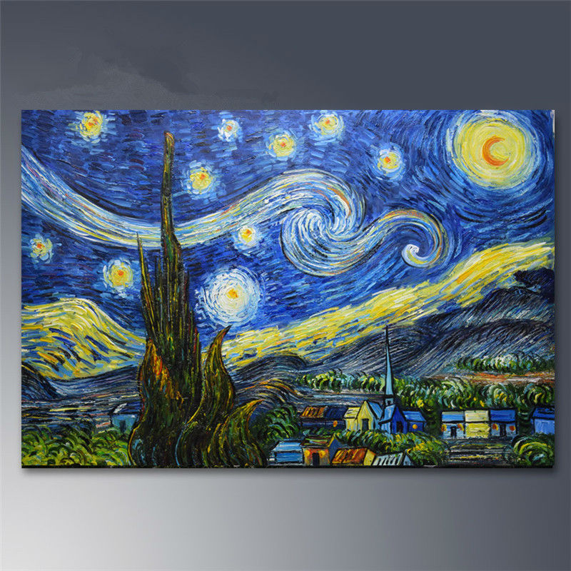Hand painted Canvas oil paintings Van Gogh Starry Night painting Abstract Modern home decor wall art picture famous painting #1(China (Mainland))