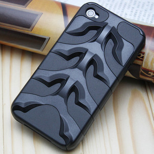 newest High Quality unique Fishbone Capsule Rebel PC+Silicon Back Case Cover for iPhone 4 Free Shipping(China (Mainland))