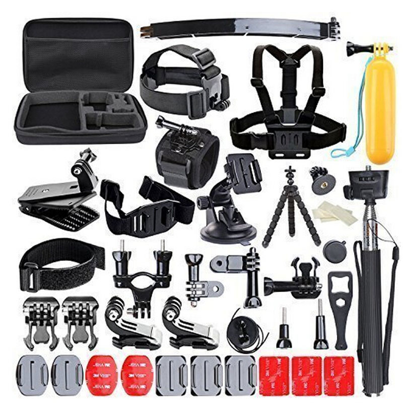 50-in-1 Sports Action Camera Accessories Kit for Gopro HERO 1 2 3 3+ 4 SJ4000 SJ5000 Waterproof Video Camera with Carrying Case(China (Mainland))