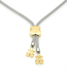 2016 Bear Necklace Luxury Fashion Bear Pendant Necklace Stainless Steel Cute Teddy Bear Necklaces For Women