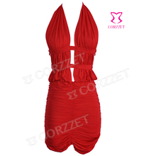 Sexy  Halter V-Neck Open Back Clubwear Dress Fashion Women Cut Out Front Ruching Summer Mini Dress