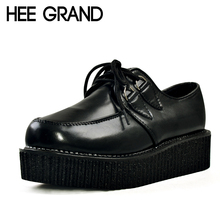 HEE GRAND 2017 Women Platform Flats Lace-up Artificial Leather Shoes Woman Spring Flat Creepers White Black Size 35-39 XWD367(China (Mainland))