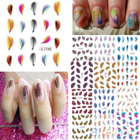 Гаджет  Colorful Womens Beauty Leopard Water Transfer Nail Art  Stickers  Tips Feather Decals  None Красота и здоровье
