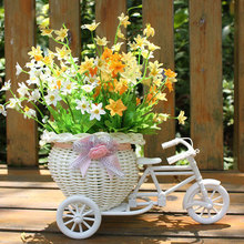Plastic White Tricycle Bike Design Flower Basket Storage Container Plant Home Weddding Decoration DIY(China (Mainland))