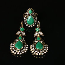 Bohemian Fashion Ruby Jewelry Set Green Black Austrian Crystal Ring And Earrings 2pc Wedding Accessories Vintage Turkey Jewelry