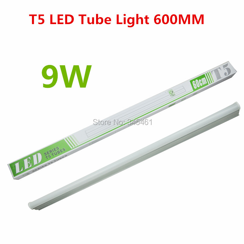 2X PVC Plastic 9W T5 LED Tube Light 110V 220V 240V 60CM Led T5 Lamp Led Wall Lamp Warm/ White Led fluorescent T5 for Living Room(China (Mainland))