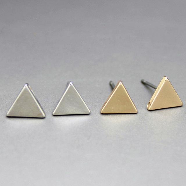 Золото серебряный сплав Simple геометрический треугольник серьги-гвоздики для женщины ...
