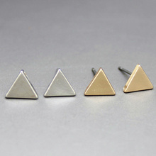 2015 New Fashion Gold Silver Alloy Simple Geometric Triangle Stud Earrings For Women Fine Jewelry Wholesale 8333(China (Mainland))