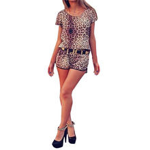 2015 Hot Fashion Women Sexy Short Sleeve Leopard Mini Shorts Jumpsuit Overall