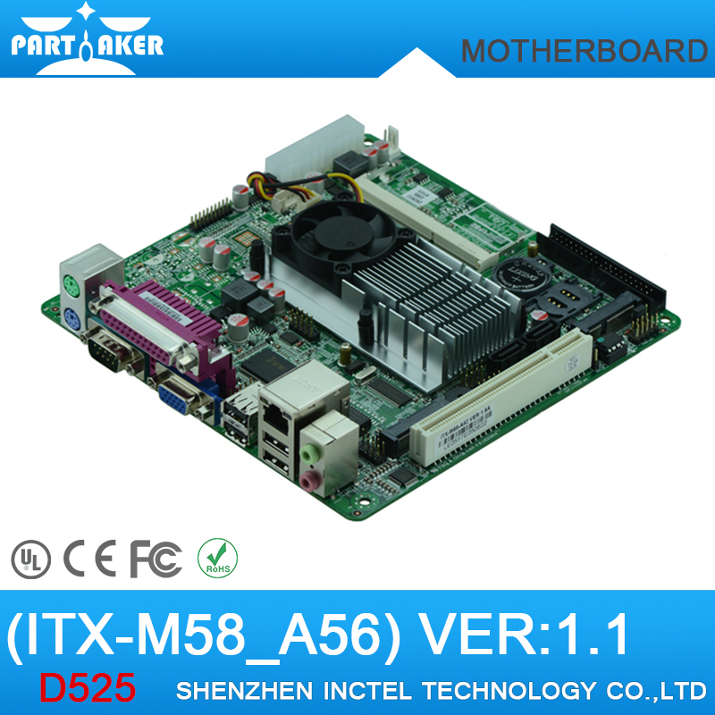 M58-A56 Mini Itx industrial motherboard Intel Atom D525 With SIM Slot 6*COM Ports LVDS(China (Mainland))