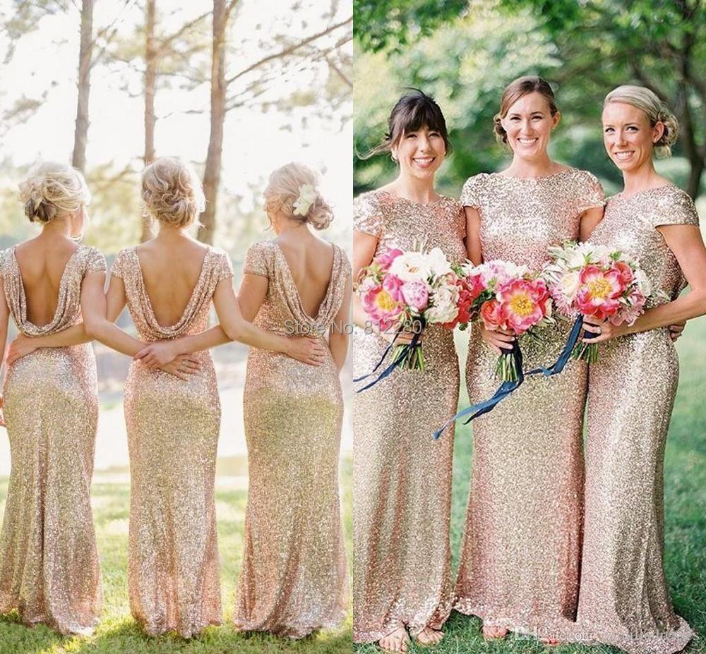 New modern wedding dresses: Cheap champagne gold bridesmaid dresses
