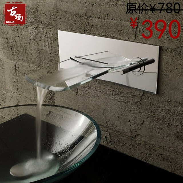 Free shipping black antique copper wall mounted kitchen bathroom basin faucet glass waterfall tap mixer
