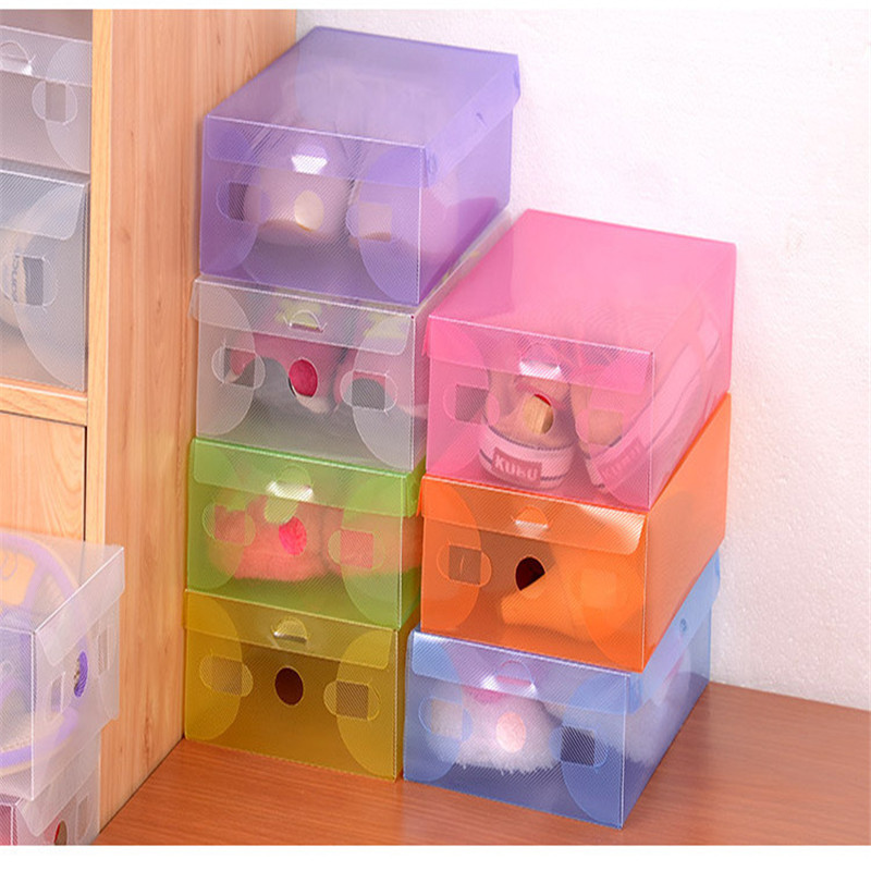 Clear Plastic Shoe Boxes Shoebox Thick Clamshell Drawer Storage Shoe Boxes 1PCS(China (Mainland))
