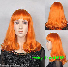 Wholesale& heat resistant LY free shipping>>>New wig Heat Resistant Fashion Cosplay Orange Curly Medium Wig