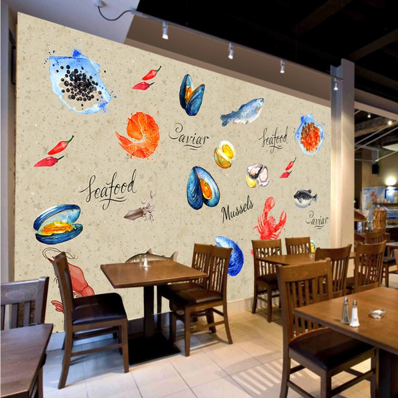 Online get cheap seafood restaurant decor for Cafe wall mural