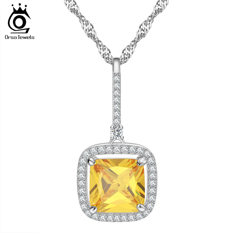 Square Cubic Zirconia Necklaces &amp; Pendants AAA Grade Jewelry for Ladies Gift ON95<br><br>Aliexpress