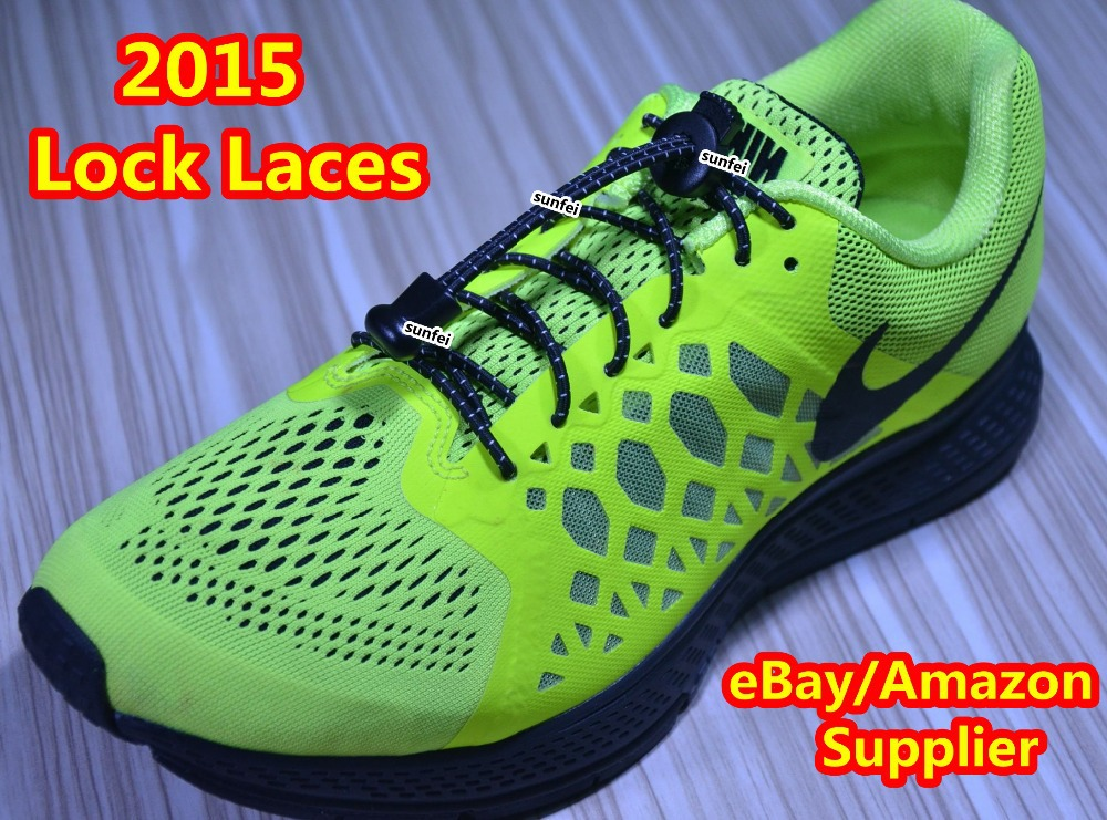 2015 Lock Laces for Sneakers~No Tie Colored Elastic shoe lacing system~eBay/Amazon custom lock laces Supplier~DHL FREE SHIPPING(China (Mainland))