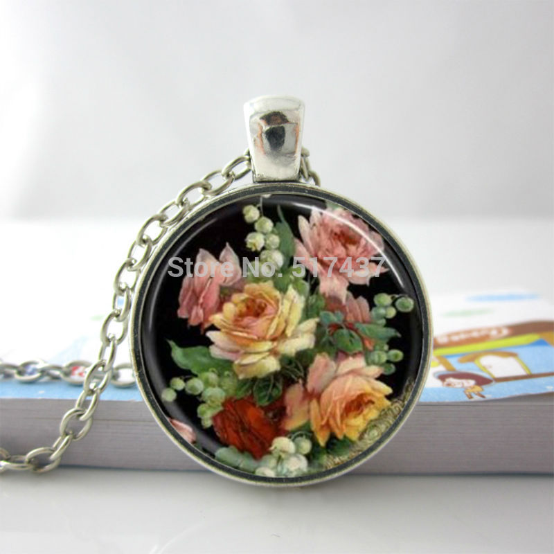 Vintage Necklace Vintage Floral Necklace Vintage Floral Flower Glass Tile Necklace Pendant Glass Dome Necklace(China (Mainland))