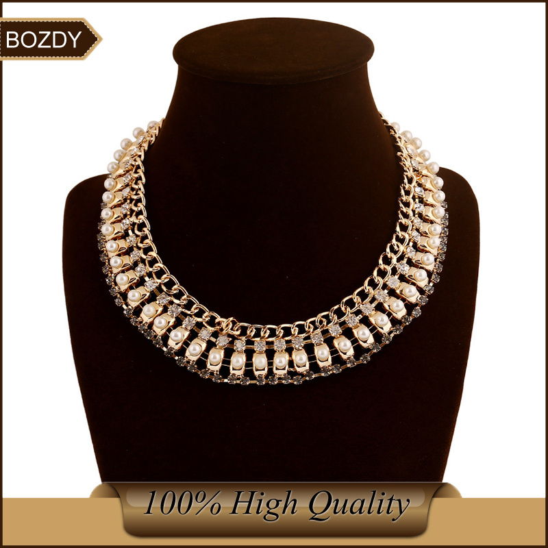 Bozdy 2015 trendy gold silver chunky statement necklace vintage fashion statement jewelry women wide choker collar