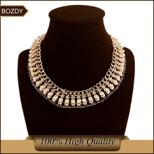 Bozdy 2015 new arrival brand ZA pearl statement necklace wide  maxi choker za necklace statement colar vintage 2015/gold/silver