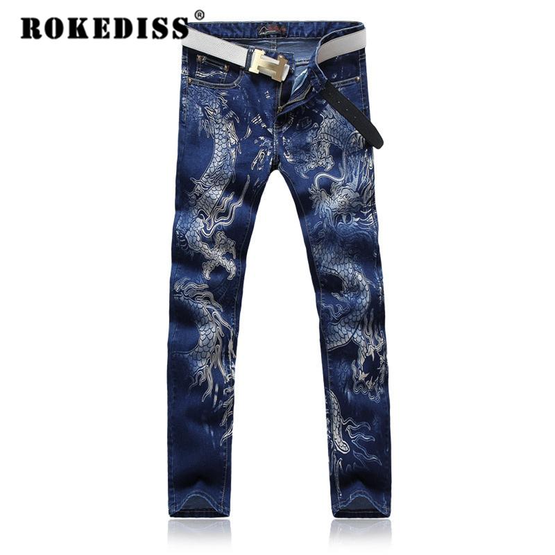 Скидки на Мужчины печати джинсы цветок Китайский дракон Ночной Клуб Длинные брюки Тонкий Ноги поддельные дизайнер одежды pantalones вакеро hombre G250