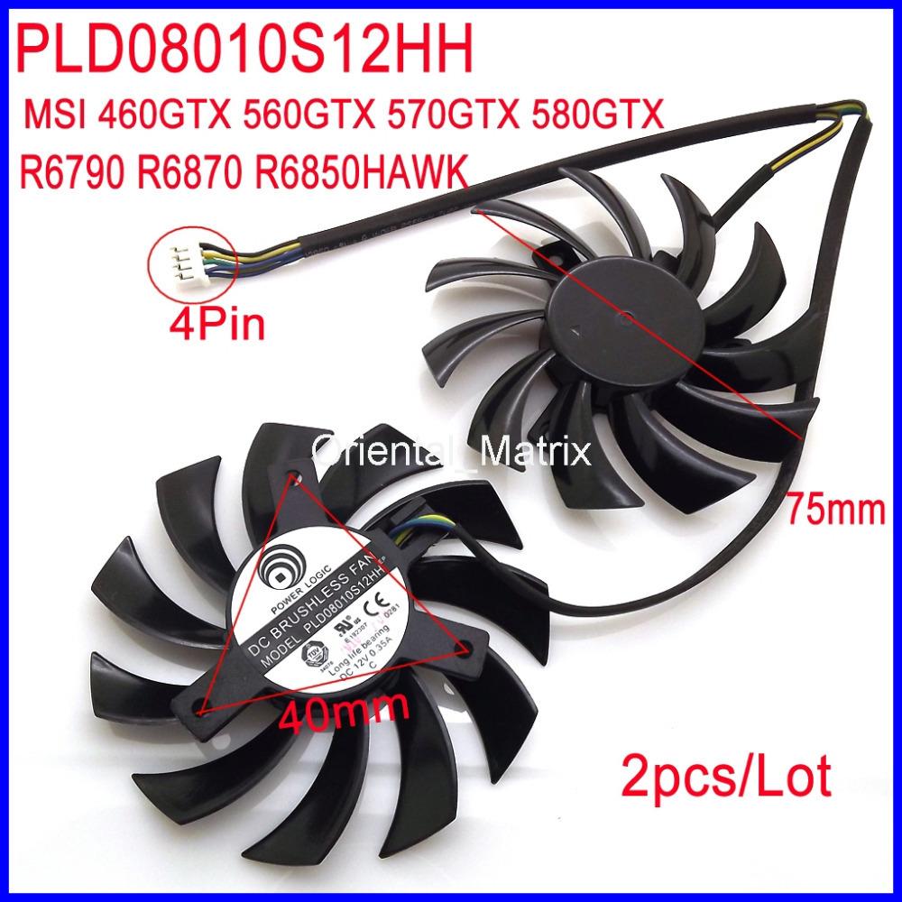 Гаджет  Free Shipping POWER LOGIC PLD08010S12HH DC12V 0.35A 4Pin For MSI 460GTX 560GTX 570GTX 580GTX R6790 R6870 R6850 HAWK Fan None Компьютер & сеть