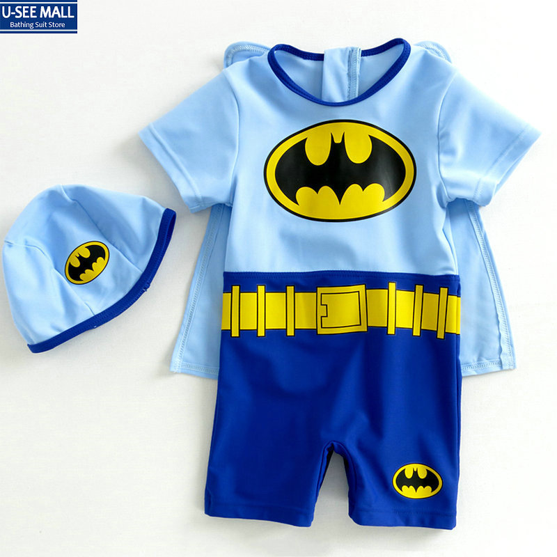 Hight quality 2014 NEW Cartoon Batman swimwear kids girls boys Trunks dress bathing suits lovely child swimwear Free Shipping