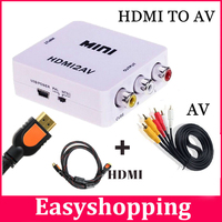 High Quality Mini Composite 1080p HDMI to 3RCA Audio Video AV CVBS Converter Adapter For TV PS3 VHS VCR DVD