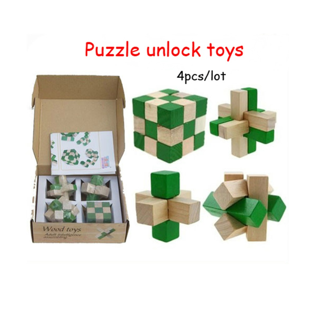 4pcs/lot learning & education 3D Puzzle unlock wooden toys IQ brain teaser burr adults puzzle educational kids unlocking games(China (Mainland))