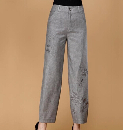 Bloomers pants women summer spring autumn linen cotton capris female embroidery casual gray plus size yfq0503 - Online Store 918297 store