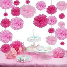 "40Pcs 4""6""8""10''(10cm,15cm,20cm,25cm)Tissue paper pom poms Mix color flower balls for wedding party home decoration(China (Mainland))"