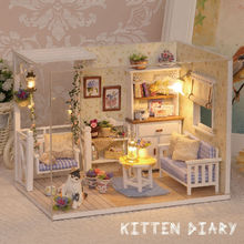Doll House Furniture Diy Miniature  Dust Cover 3D Wooden Miniaturas  Puzzle Dollhouse For Child Birthday Gifts Toys-Kitten Diary(China (Mainland))