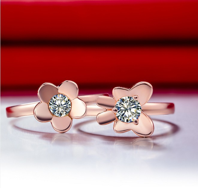 0.5CT Flower Ring Rose Gold Plated Wedding Rings For Women Finish 925 Silver Ring Synthetic Diamond Engagement Ring Bague Femme(China (Mainland))