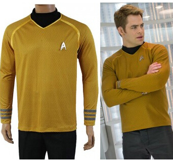Movie Coser-2 High Quality  Captain Kirk In Star Trek Into Darkness Cosplay Yellow Uniform CostumesОдежда и ак�е��уары<br><br><br>Aliexpress