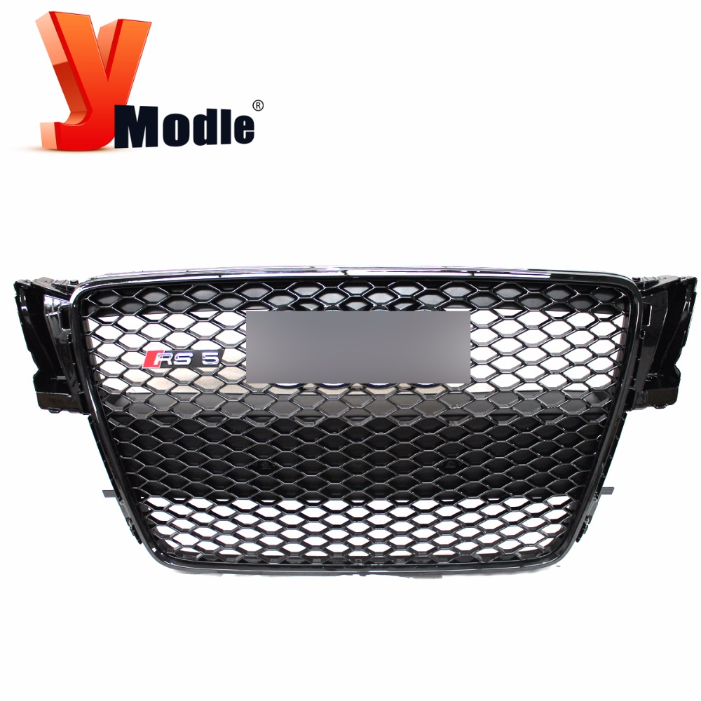 ABS A5 RS5 Mesh Grille,Black Car Front Bumper Grill For Audi (fit A5 RS5 Bumper 2007-2012)(China (Mainland))