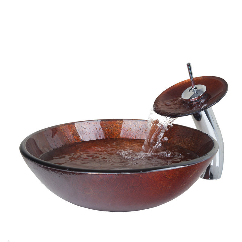 Гаджет  Victory Glass Bowl,Bathroom Sink,Decor Art Wash Basin With Waterfall Faucet Tempered Glass Bathroom Sink Set VD4043-1 None Строительство и Недвижимость