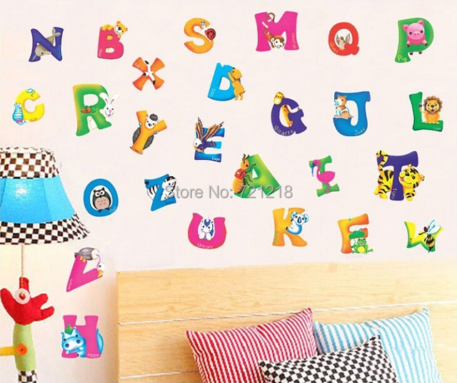 Alphabet wall sticker for children kids room decorative for Decorative letters for kids room