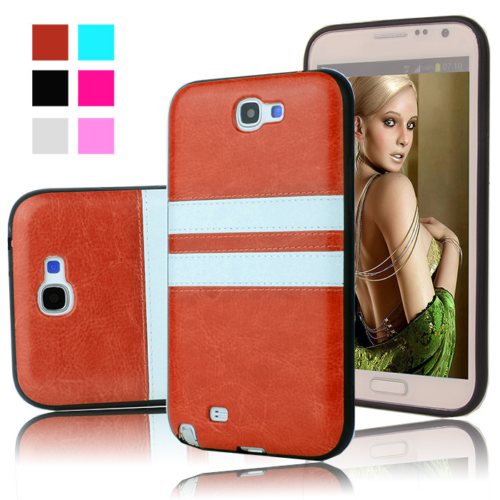 New Luxury Retro Two Tone PU Leather Fashion Soft TPU Back Case Cover for SAMSUNG GALAXY Note 2 II N7100 N7108 N7102 Phone Bags(China (Mainland))