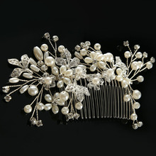 Buy Fashion Women Hair Accessories Bride Elegant Rhinestone Flowers Headdress Crytal Pearl Hair Comb Handmade Hair Jewelry SL for $4.29 in AliExpress store