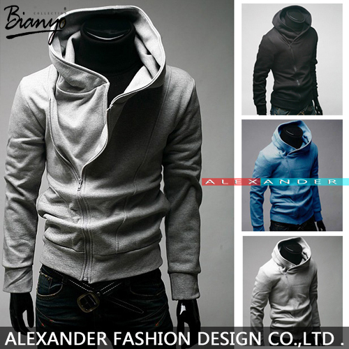 Free shipping High Collar Men's Jacket Top Brand ,Men's Dust Coat Hoodies Clothes sweater/overcoat/outwear, 5color M-XXXL jacket(China (Mainland))