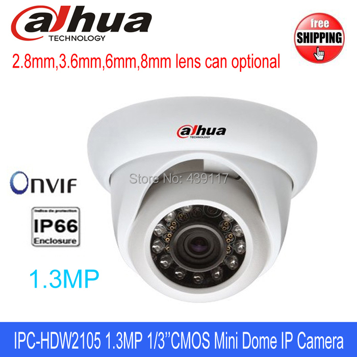 free shipping1.3MP 720P HD 1/3'' CMOS Sensor DAHUA Camera IPC-HDW2105 ONVIF H.264 1280*720 Resolution 50m Security CCTV Cameras(China (Mainland))