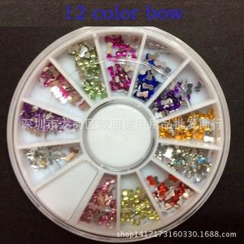 Одной коробке 12 цветов мода ногтей украшения супер яркая вспышка с бантом формы горный хрусталь порошок для ногтей советы M655