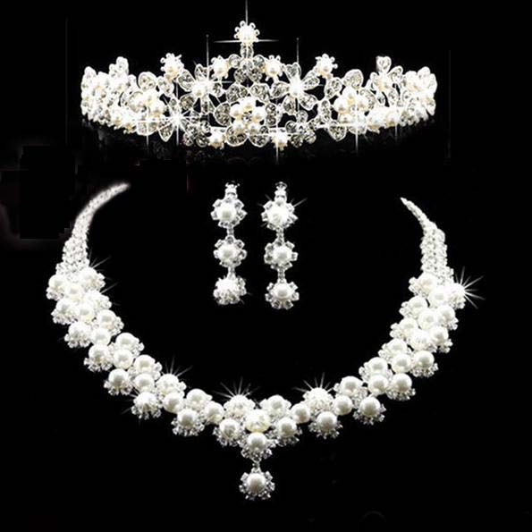 Fashion Crown Tiara imitation pearls Silver Plated Crystal Choker Necklaces Earrings Bridal Jewelry Sets For Wedding