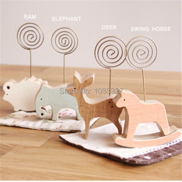 Free shipping Simple Wood animal crafts photo clip, can hold memo/ business card, display sale tickets, Mini wood craft gift(Hong Kong)
